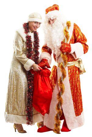 jack frost: Tiempo de Navidad. Jack Frost. Tradicionales de Santa Claus aislados sobre fondo blanco.