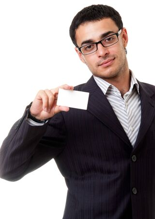 young businessman with blank business card, isolated on white background