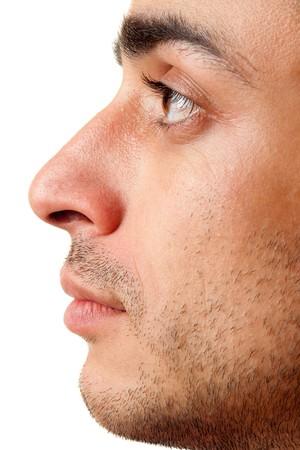 primer plano cara: Perfil. Hermoso hombre. La cara de cerca. Foto de archivo