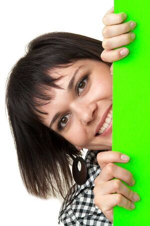 beautiful smiling woman with the big green billboard on a white background Stock Photo - 3943639