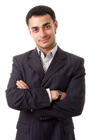 head collar: smiling young man standing against isolated white background