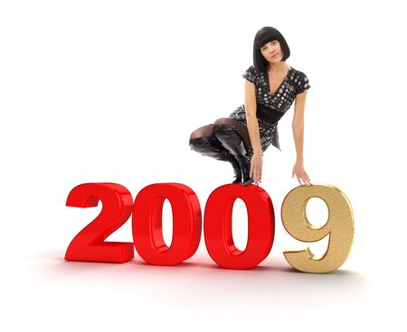 Sexy young woman and New Year 2009 on a white background Stock Photo - 3979222