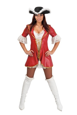 Attractive girl in a pirate costume and hat standing against isolated white background