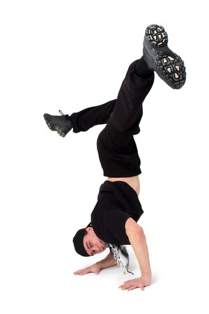 Break dancing. Breakdancer dances on a white background. Stock Photo - 4369777