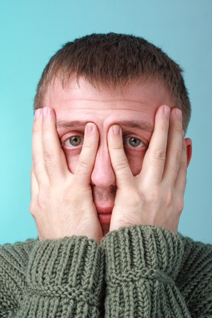 crisis. Stressed man on a blue background Stock Photo - 4469679
