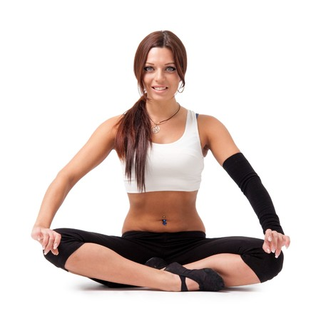 Young beautiful woman sitting in yoga position, isolated on white background.