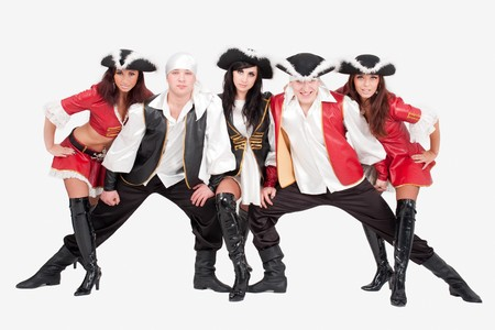 Young dancers in pirate costumes on a gray background Stock Photo - 4542965