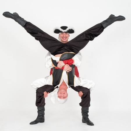 Two dancer in pirate costumes on a gray background Stock Photo - 4542944