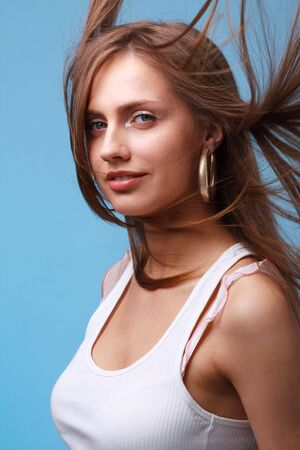 Attractive young woman with hair flying Stock Photo - 4630645