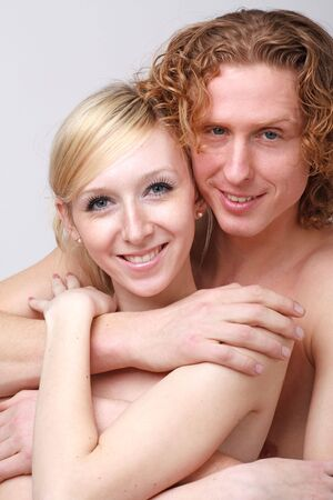 Portrait of young smiling couple close up Stock Photo - 4674448
