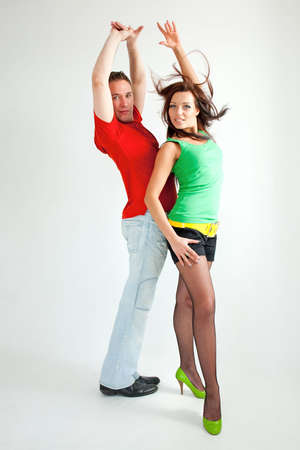 paso doble: Paso doble. Portrait of young dancing couple. Stock Photo