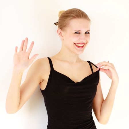 Hello. Smiling young woman on a white background. photo