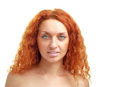 red haired woman: Beautiful red haired woman close up on a white background with copyspace