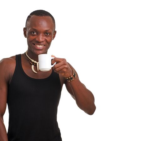 young man with cup on a white background with copy space photo