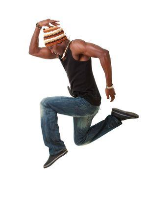 akrobatik: T�nzer springen isoliert gegen wei�en Hintergrund Lizenzfreie Bilder