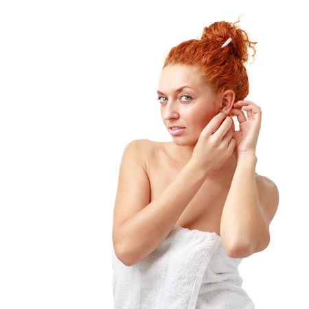 red haired woman: Beautiful red haired woman on a white background
