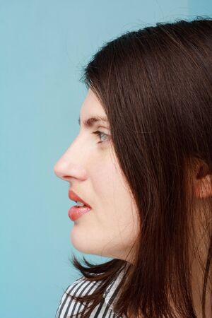 Female profile. Beautiful young woman close up. photo