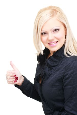 Smiling young woman with thumbs up gesture. Isolated over white background, with copyspace. photo