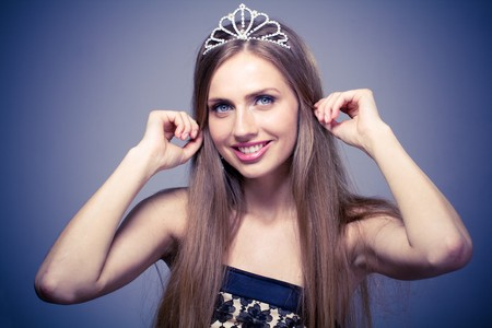 Close up portrait of beautiful girl with diadem photo