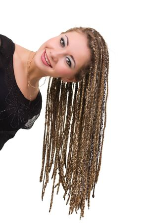 Beautiful young woman with dreadlocks isolated over white background. Stock Photo - 8020882
