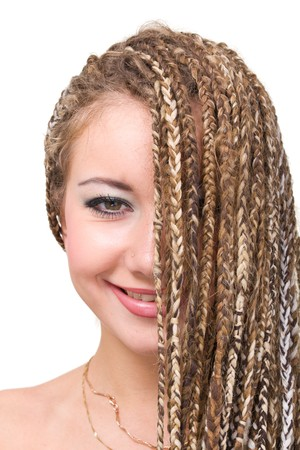 Closeup portrait of young smiling woman with  dreadlocks. Stock Photo - 8020883
