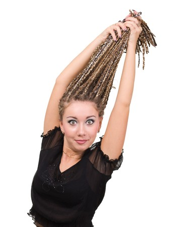 Surprised young woman with dreadlocks isolated over white background. Stock Photo - 8020881