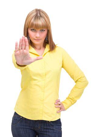 weta: MÅ'oda kobieta sygnalizacji znak stopu, samodzielnie na biaÅ'ym tle Zdjęcie Seryjne