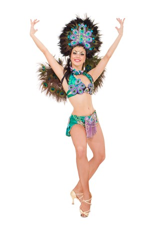 Sexy carnival dancer posing against isolated white background Stock Photo - 8109822