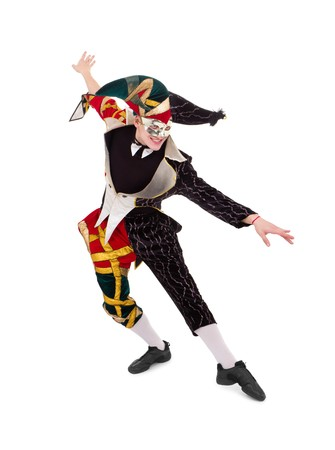 jester hat: Happy Harlequin posing against isolated white background