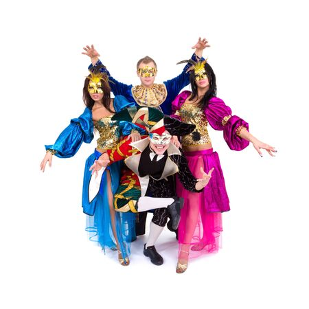 Marionettes. Dancers in carnival costumes posing on a white background
