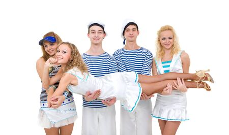 Dance team wearing a sailor uniform posing on a white background Stock Photo - 8332027