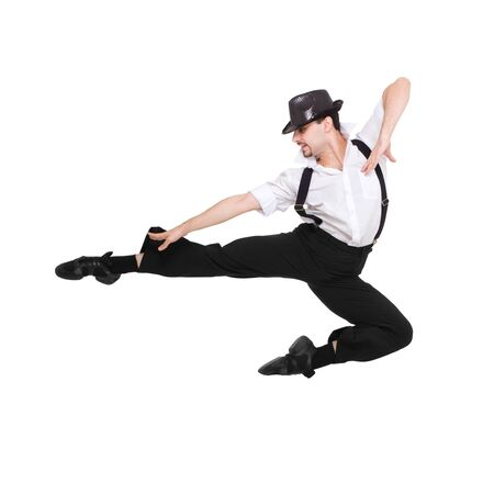 bowler hat: Young dancer jumping against isolated white background Stock Photo