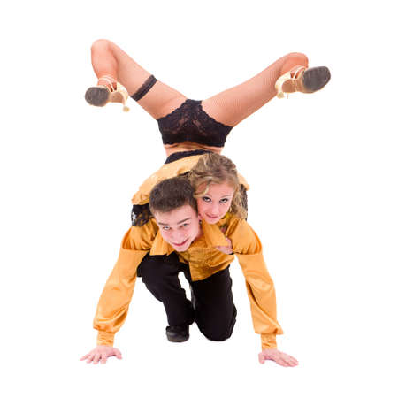 Young dancers posing against isolated white background Stock Photo - 8334707