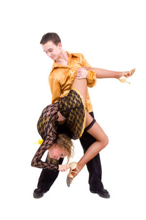 Ñouple dancing latino against isolated white background Stock Photo - 8334710