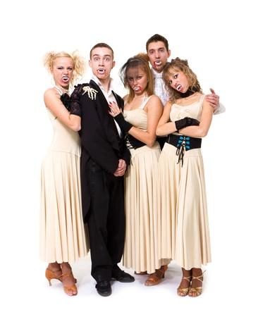 vampire family posing against isolated white background photo