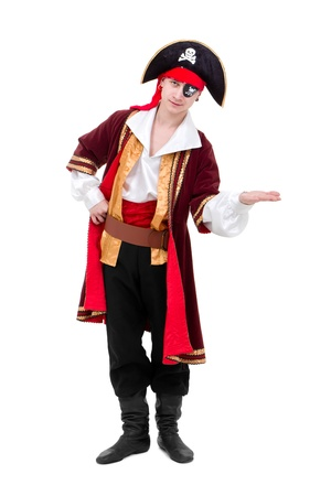 young dancer dressed as pirate seated standing against isolated white background