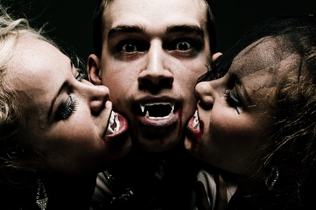 Close up portrait of hungry vampire family photo