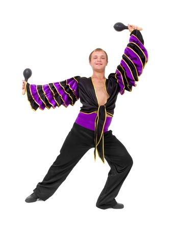 young dancer with the maracas standing on a white background photo