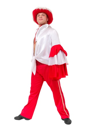 young carnival dancer standing against isolated white background photo