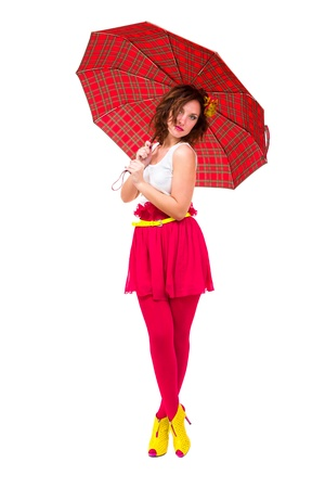 woman holding a red umbrella, isolated on white photo