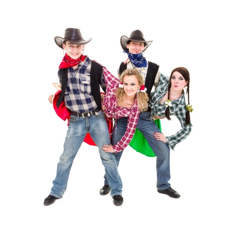 Smiling cowboys and cowgirls dancing against isolated white background