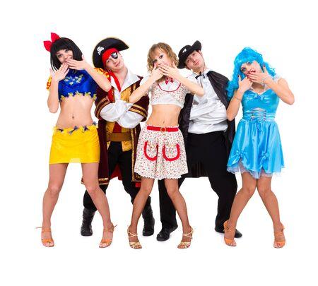 Dansers in carnaval kostuums die zich voordeed op een witte achtergrond Stockfoto