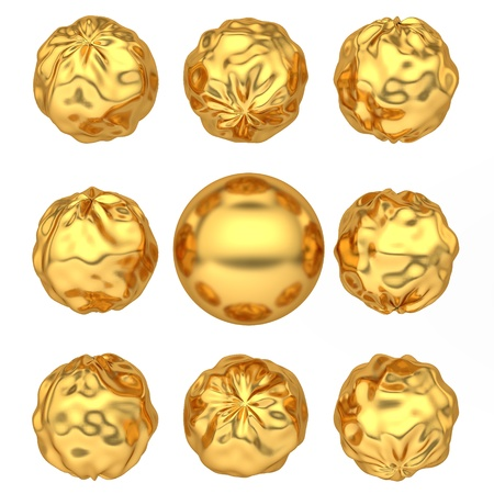 abstract deformed golden balls isolated over a white background Stock Photo - 16727539