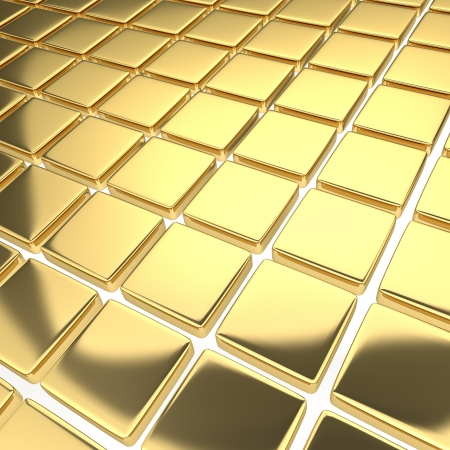 Abstract bright background with reflecting gold squares Stock Photo