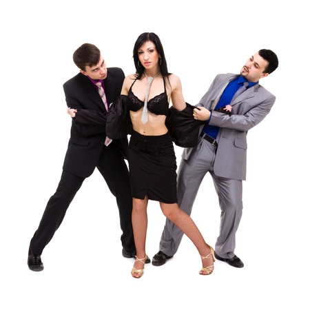 Group of sexy business people, isolated over white background  photo