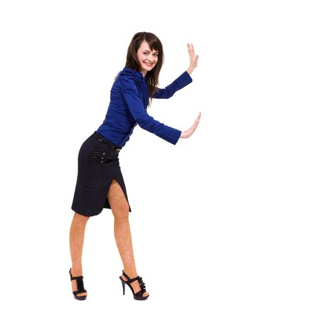 Full length of young woman holding gesture, isolated on white background Stock Photo