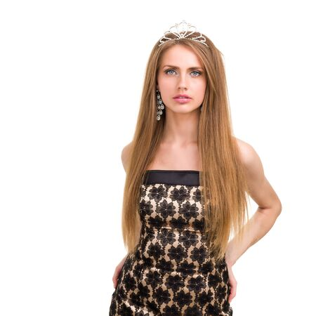 waist-up portrait of beautiful girl with diadem, isolated on white background photo