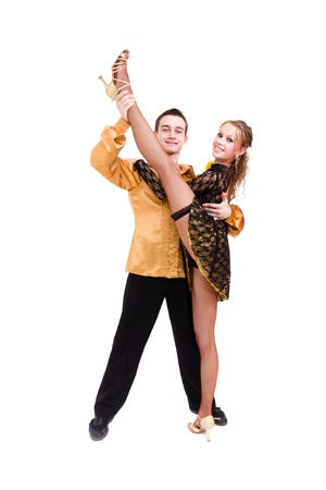 two young modern acrobats dancing against isolated white background photo
