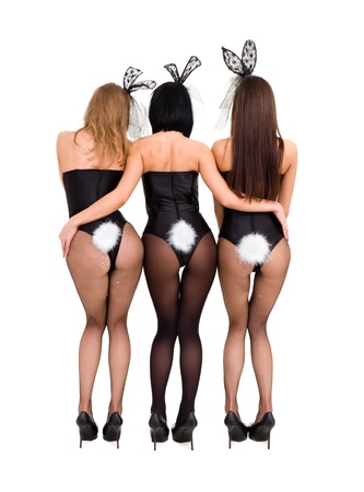 Sexy playgirls wearing a bunny costumes, back view, isolated on white background photo