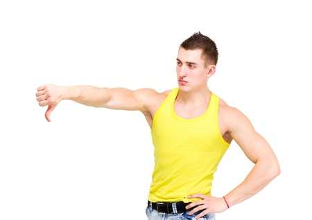 angry man with thumb down isolated on white background Stock Photo - 18286424